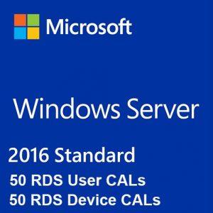 Windows Server 2016 Standard + 50 RDS User Cal + 50 RDS Device Cal